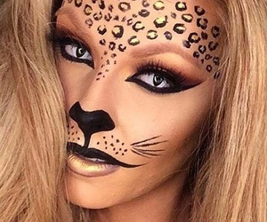 makeup, Halloween, and leopard image