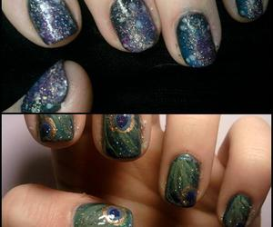 nails, peacock, and space image