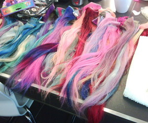 hair, extensions, and pink image