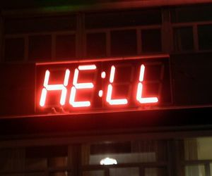 hell, red, and neon image