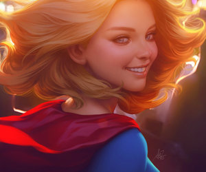 art, drawing, and Supergirl image