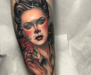 tattoo, portrait tattoo, and neo traditional tattoo image