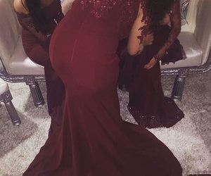 gown, prom dress, and red dress image