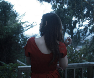 back, red dress, and feminine image