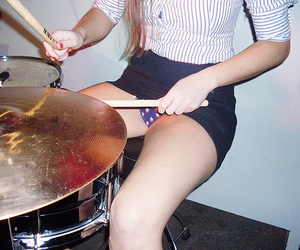 girl, drums, and panties image