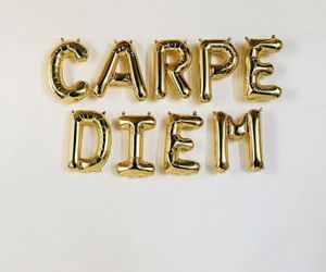 carpe diem, gold, and balloons image