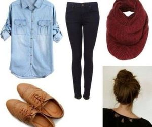 oxford shoes, scarf, and denim blouse image