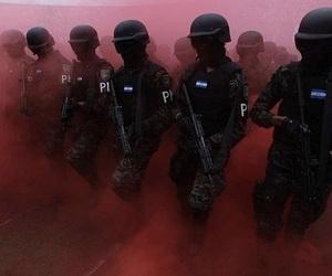 red, police, and smoke image