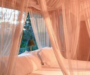 bed, bedroom, and peach image