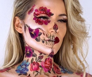 makeup, Halloween, and flowers image