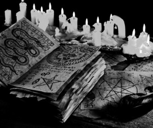witch, book, and candles image