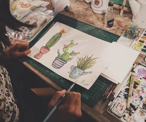 art, cactus, and painting image