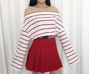 red, outfit, and style image