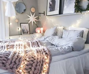 bed, flowers, and lights image