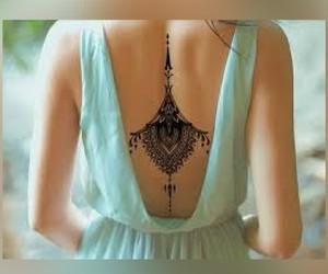 kleid, tattoo, and rücken image