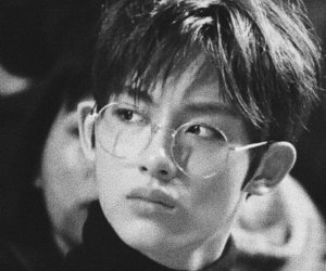 black and white, glasses, and kpop image