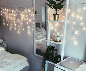 apple, bedroom, and lights image