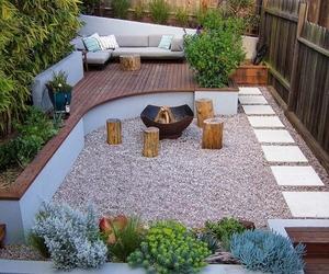 backyard, fire, and pillow image