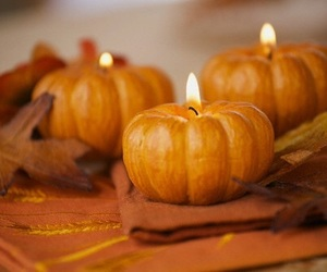 pumpkin, autumn, and candle image