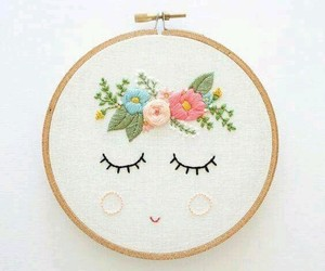 flowers, diy, and embroidery image