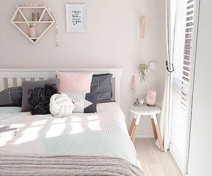 bedroom, home, and pink image