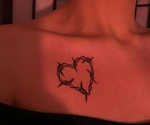 girl, heart, and tattoo image