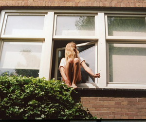 girl, window, and blonde image