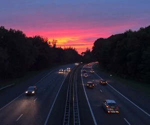 gif, highway, and sunset image