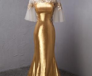 evening dress, gold dress, and fashion dresses image