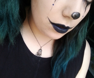 blue hair, clown, and goth image