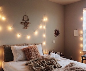 bedroom, interior, and light image