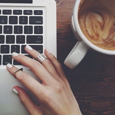 coffee, nails, and laptop image