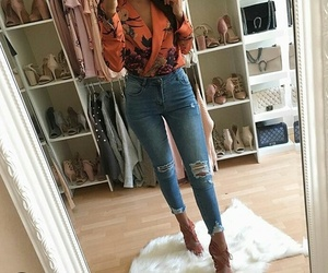 fashion, jeans, and orange image