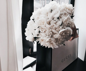 flowers, gucci, and white image