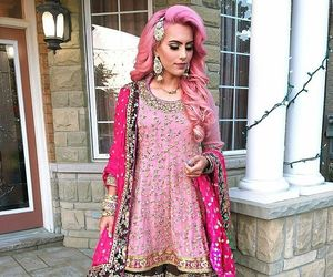pink hair, shaadi, and wedding dress image