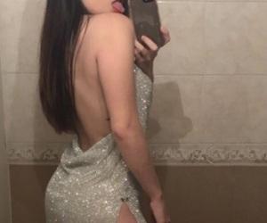backless, diamonds, and dress image