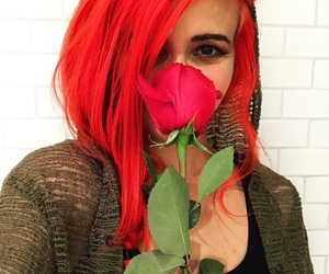 hair, red, and rose image