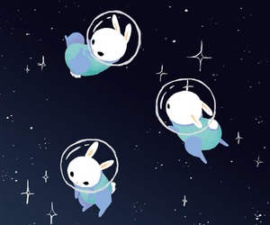 space, cute, and rabbit image