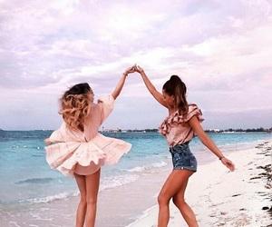 best friends, cute, and beach image