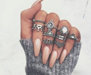 nails, rings, and beauty image