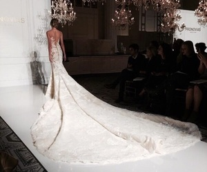 dress, wedding, and runway image