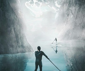 adventure, fog, and lake image