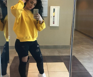 yellow and mirror selfie image