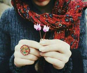 hijab, flowers, and scarf image