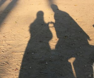 heart, shadow, and sunset image