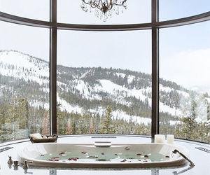 bathroom, mountains, and luxury image