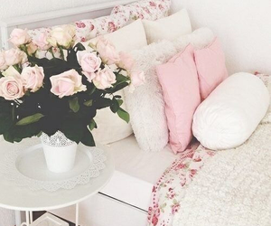 pink, flowers, and bedroom image