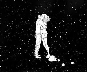 boy, stars, and universe image