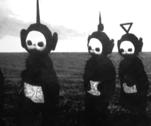 teletubbies, black and white, and grunge image