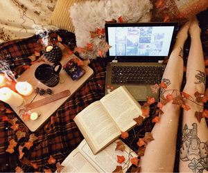 autumn, candles, and book image